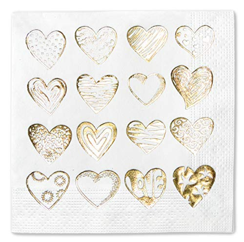 Hearts Party Napkins Paper Gold Foil Cocktail 5