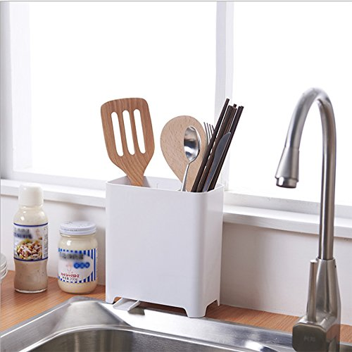 SZUAH Utensil Holder Caddy, Large Capacity Plastic Utensil Silverware Organizer for Utensils, Cutlery & Sink Accessories, with Adjustable Sink Drain.