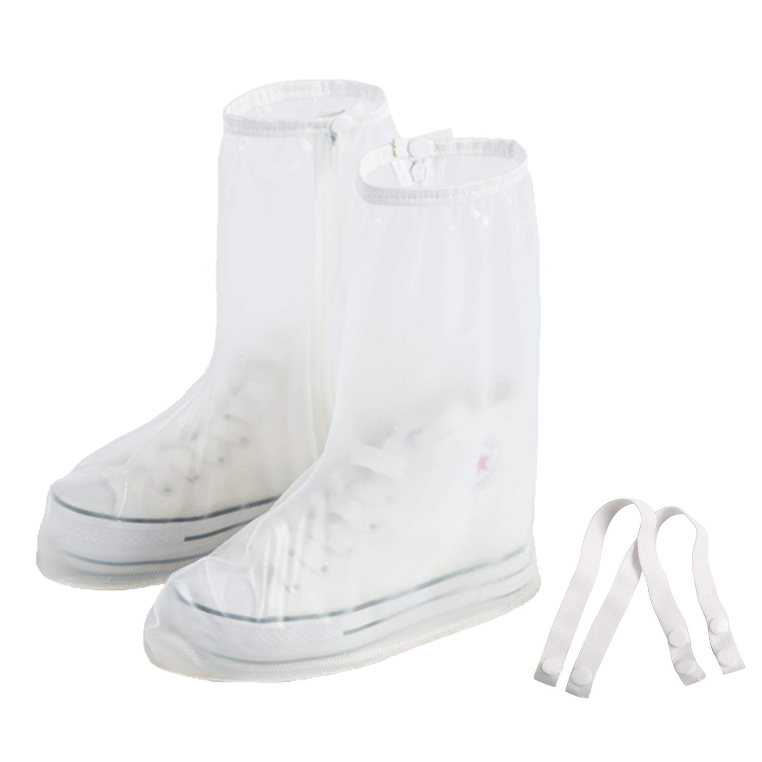 White Rain Shoe Covers Waterproof Boot Cover With Side Zipper Motorcycle Rain Boot Covers Reusable Man 3.5-4 Women 5-5.5 (S)