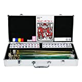 Topeakmart 4 Pushers 166 Tiles American Mah Jongg Set Mahjong Set in Aluminum Case, Silver
