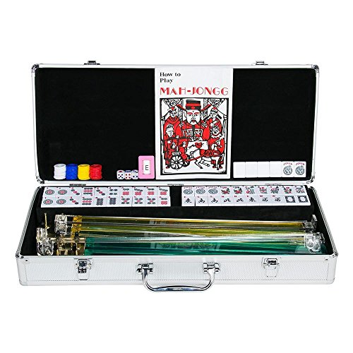 Topeakmart 4 Pushers 166 Tiles American Mah Jongg Set Mahjong Set in Aluminum Case, Silver by Topeakmart