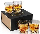 KANARS Rocks Glasses - Set of 4 - Twist Old Fashioned Whiskey Glasses - Large 10 Oz Crystal Tasting Tumblers for Scotch or Bourbon - Luxury Gift Box for Wedding or Birthday