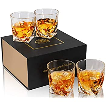 Amazon.com | Venero Crystal Whiskey Glasses, Set of 4