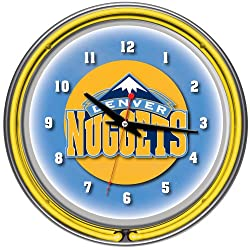 NBA Denver Nuggets Chrome Double Ring Neon Clock, 14