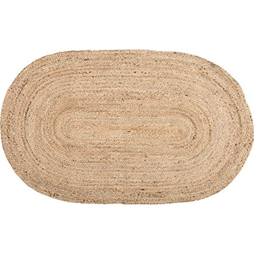 Icrafty Oval Jute Area Rug, 2 x 3 Feet Eco Natural Fiber Braided Reversible Oval Jute Rug