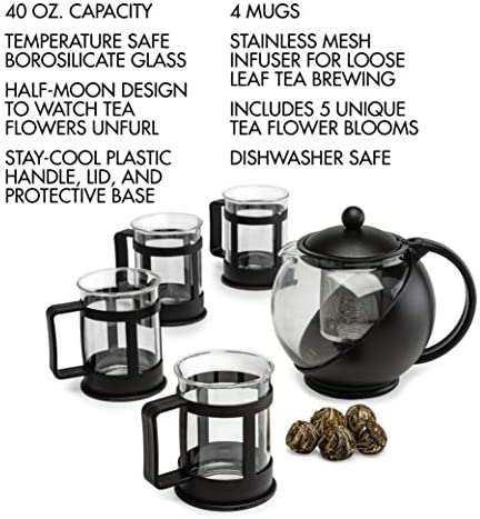 Stainless Steel Filter Borosilicate Glass Dishwasher Safe Black Half Moon Teapot with Removable Infuser 40-Ounce Blooming and Loose Leaf Tea Maker Set