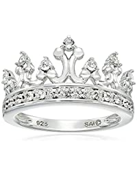 Sterling Silver Clear Crystal Crown Ring