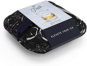 W&P Peak Silicone Sphere Ice Mold w/ Cover | Marble Black | Easy to Remove | Round Cocktail Whiskey Drink Ice Maker | Food Grade Premium Silicone | Dishwasher Safe, BPA Free