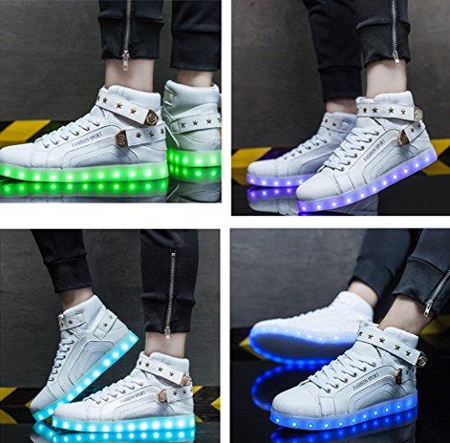 Män Hög Topp Usb-laddning Ledde Skor Blinkande Sneakers Lyser Tränare Mode Sneakers Lysande Skor Vita