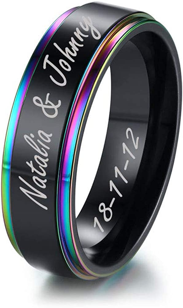 Mealguet Jewelry Black Brushed Finish Stainless Steel Basic Simple Plain Step Edge Rainbow Gay Pride Wedding Ring Bands for Men