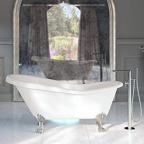 """MAYKKE Gibson 67"""" Traditional Oval Acrylic Clawfoot Tub 