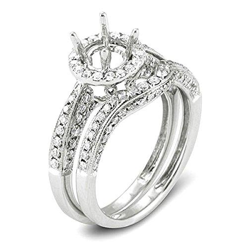 1.05 Carat (Ctw) 14K White Gold Round Diamond Semi Mount Round Diamond Engagement Bridal Ring (No Center -