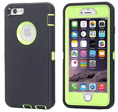 Ai-case Built-in Screen Protector Tough 4 in1 Rugged Shorkproof Cover With Kickstand for iPhone 6/6S Plus, Black/Green(Without Kickstand)