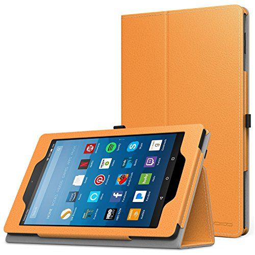 MoKo Case for All-New Amazon Fire HD 8 Tablet (7th Generation, 2017 Release Only) - Slim Folding Stand Cover for Fire HD 8, ORANGE (with Auto Wake / Sleep)