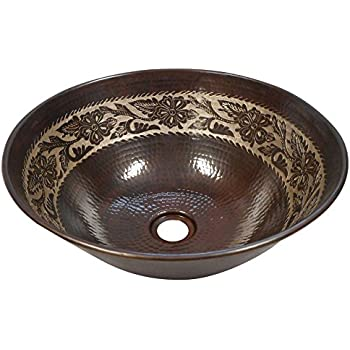 Elegant 14 Quot Round Copper Vessel Bathroom Sink With Silver
