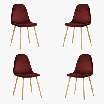 Tendance Lot Chaises 44x44x87cm 1 4 De Scandinave Furnish Bordeaux CBhdsQrxt