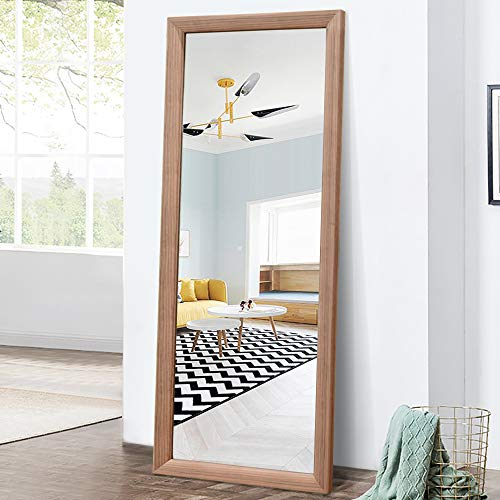 PexFix Full Length Floor Mirror Wood-Grain Rectangle PS Polymer Frame Standing Wall Mounted Mirror Dressing Mirror with Adjustable Stand 65