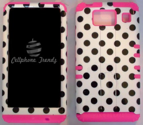 Cellphone Trendz (TM) Hybrid 2 in 1 Case Hard Cover Faceplate Skin Pink Silicone and Black Big Polka Dots White Snap Protector for Motorola Droid Razr Maxx HD XT926M by Verizon (Not for Droid Razr Maxx) + Free Wristband Accessory - Cellphone Trendz (TM) (Zebra Pink Skin Snap)