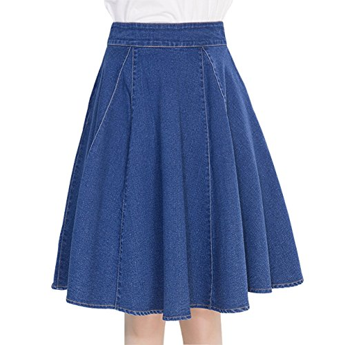 Fit And Flare Denim Skirt (Wincolor Women's A-line Flare Pleated Denim Jean Skirt with Boyleg Short)