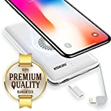 KOKIRI Wireless Portable Charger. High Capacity Power Bank. Compact External Battery. Universal Charge with 4-in-1 Micro USB & Lightning Cable, Type-C Adapter, or Wirelessly with Qi Charging Pad