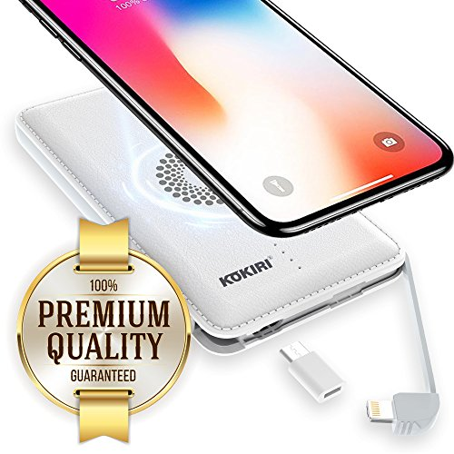 KOKIRI Wireless Portable Charger. High Capacity Power Bank. Compact External Battery. Universal Charge with 4-in-1 Micro USB & Lightning Cable, Type-C Adapter, or Wirelessly with Qi Charging Pad External Portable Power Adapter