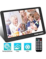 Mansso 10.1 Zoll Digitaler Bilderrahmen,1280x800(16:10) Full-IPS-Display elektronischer Bilderrahmen - USB/SD-Karte/Foto/Musik/Video-Player Kalender Wecker, Fernbedienung