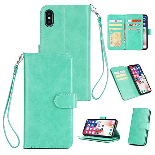Price comparison product image Large Wallet Case [3 Layer] for iPhone XS Max, Yobby iPhone XS Max Case Classy Flip Leather Pocket Cover [9 Card Slots] with Detachable Handstrap and Stand-Mint Green