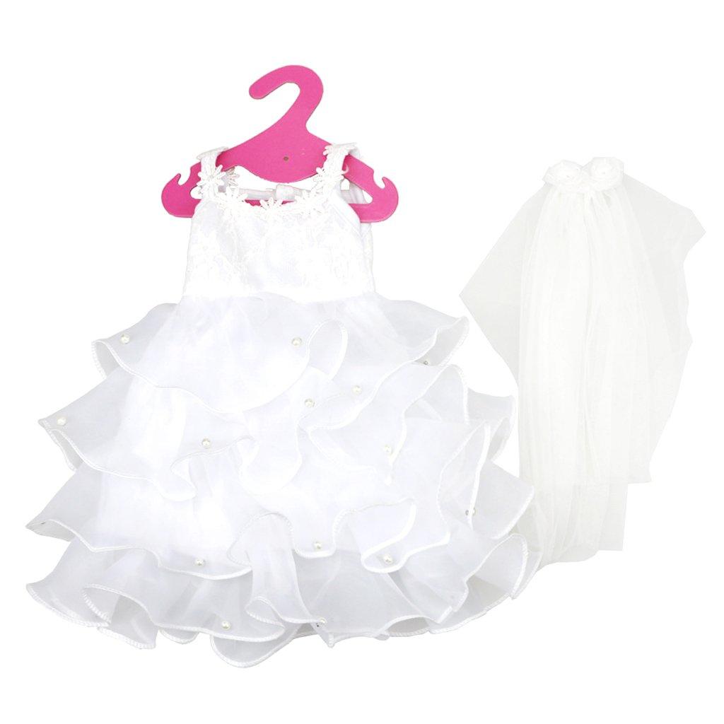 Sharplace Elegante Weiße Puppen Brautkleid Kleidung mit Schleier Für ...