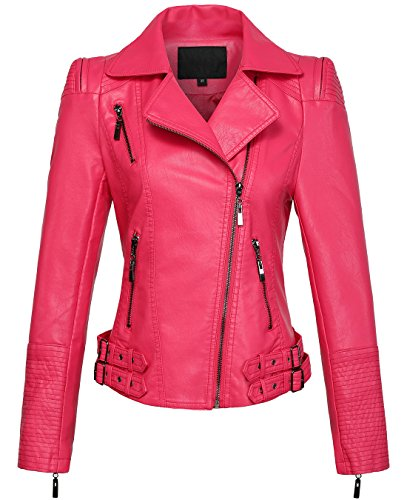 chouyatou Women's Asymmetric Zip-Up Motorcycle Cropped Pu Leather Biker Jackets (Large, Rose)