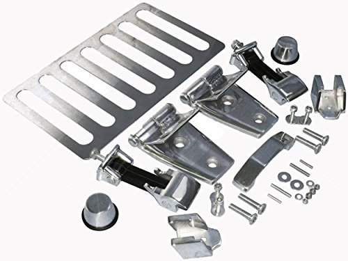 APDTY 110228 Stainless Steel Hood Accent Kit Includes Hood Hinges, Latches & Catches, Hood Stops, Footman Loop & Vent Fits 2007-2016 Jeep Wrangler