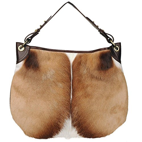 Wilsons Leather Womens Vintage Hobo Spring Buck W/ Distressed Leather Back (Distressed Hobo Bag)