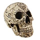 Private Label Resin Statues Tribal Tattoo Human Skull Statue Figure 5 X 6 X 7.5 Inches Off-White