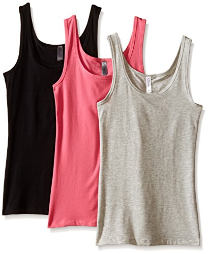 - Clementine Women's 2x1 Rib Tank Top, Hot Pink/Heather Grey/Black, Medium (Pack of 3)