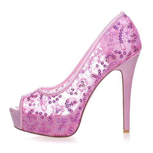L@YC 3128-33 Women'S High Heel Platform Peep Toes Pump Lace Ribbon Court Shoes White RN8BP