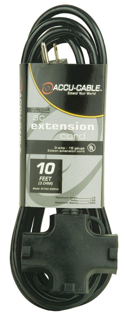 Accu Cable EC123-3FER10 Black 12 Gauge 3 Plug 10 FT Extension Cable