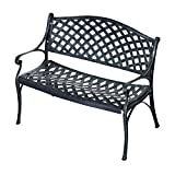 Outsunny 40'' Grid Pattern Decorative Outdoor Garden Bench - Antique Green
