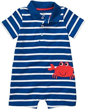 Carter's Baby Baby Boys Striped Crab Polo Romper (Nb-24m) Royal Blue Size Nb