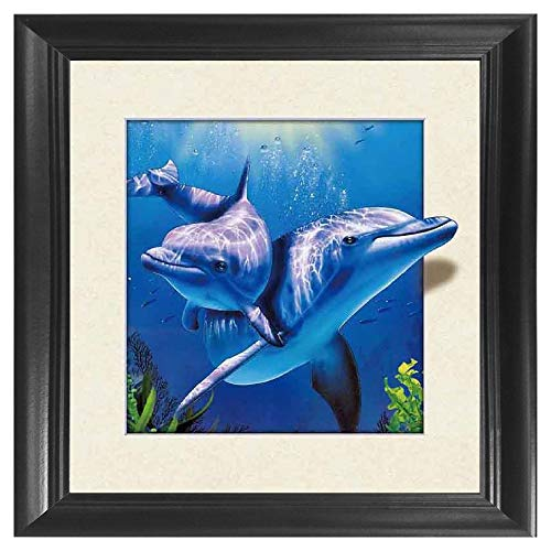 Ocean Pictures Animals - Dolphins 5D / 3D Poster Wall Art Decor Framed Print | 18.5x18.5 | Lenticular Posters & Pictures | Memorabilia Gifts for Guys & Girls Bedroom | Cute Sea Animals in Underwater Ocean Scene Picture