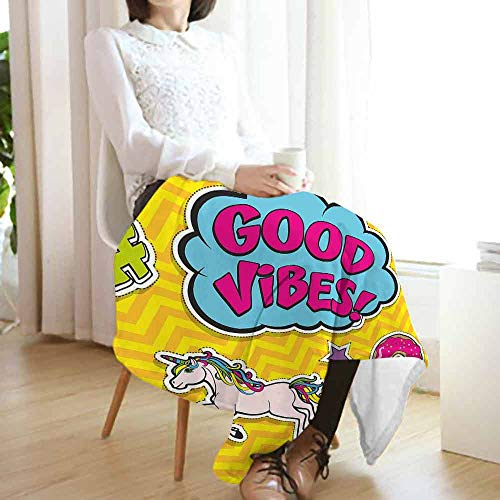 vanfan-home Good Vibes Travel Blanket,Fantastic Colorful Fun Design Cute Magic Unicorn Speech Bubble Stars and Donut Cozy Hypoallergenic Easy to Carry Blanket (70
