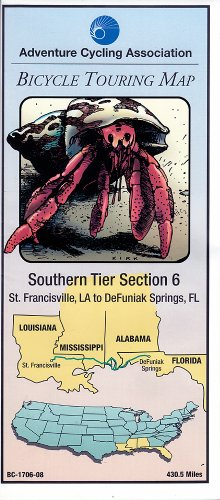 Bicycle Touring Map, Southern Tier #6 St Francisville LA to De Funiak Springs, Florida (Cycling Maps)