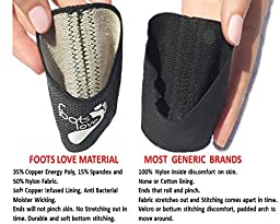 Foots Love. 2 Compression Plantar Fasciitis Braces - Copper Arch Support / Sleeves. GUARANTEED Highest Copper Content. For Foot Care, Heel Spurs, Plantar Fasciitis, Pain In Feet And Flat Arches.