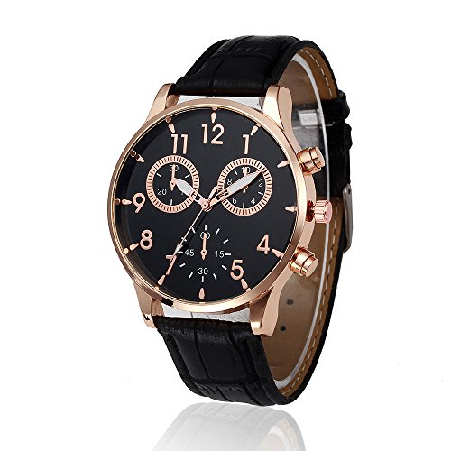 Han Shi Wrist Watch, Man Fashion Watch Retro Leather Band Analog Alloy Quartz Clock (A, Black) (Classic Field Black Dial)