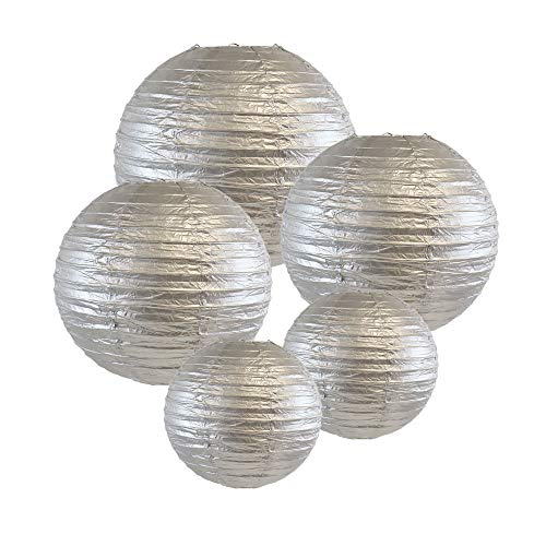 Just Artifacts (SILVER) Chinese/Japanese Paper Lanterns (Assorted: (2) 8inch, (2) 12inch, (1) 16inch) - Click for more colors!