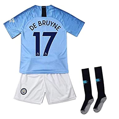 the latest fb672 055c0 SAENJUXBB Manchester City Home 2018-19 Season Football Jersey #17 DE BRUYNE  Kids & Youth Blue