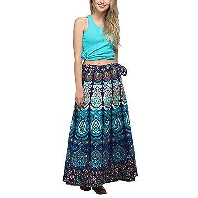 BODOAO Women Loose Boho Long Beach Skirt Multicolor Feather Print Casual Skirt