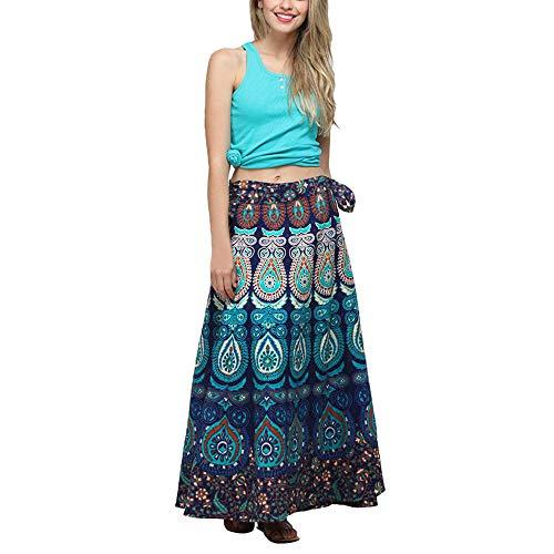 (BODOAO Women Loose Boho Long Beach Skirt Multicolor Feather Print Casual Skirt)