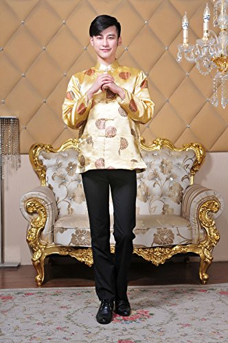 XueXian(TM) Men's Long Sleeve Chinese Style Qipao New Year Outfit Tang Suit (China XXL:Bust 48.81'',Yellow) by XueXian(TM) (Image #2)