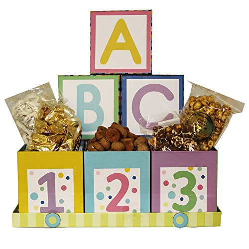 Baby Cookie Gift Basket - Art of Appreciation Gift Baskets ABC's and 123's Baby Gift Box Snack Set, Nuetral Boy or Girl