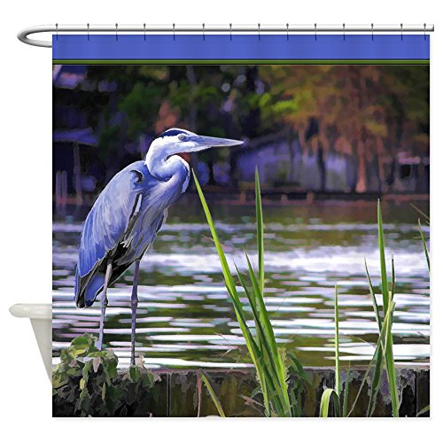 CafePress - Blue Heron Sketch Shower Curtain - Decorative Fabric Shower Curtain - Pictures Great Blue Herons