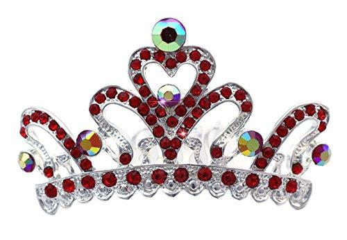 lower Girl Red Heart Tiara Hair Comb Crown ()